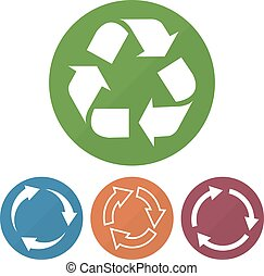 Set of different recycle icon on a circles. Vector illustration