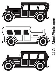 Set of different retro car silhouettes