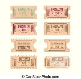 Set of different retro movie ticket. vector illustration