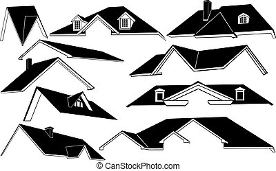 set of different roofs isolated on white