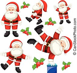 Set of different santas