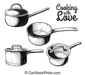 Set of different saucepans on a white background. Vector