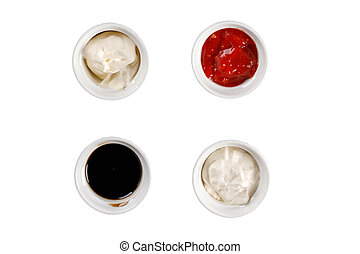 Set of different sauces on white background. Top view.