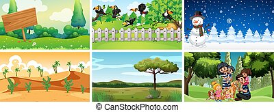 Set of different scenes of nature