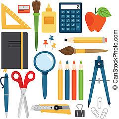 Set of different school items, vector illustration.