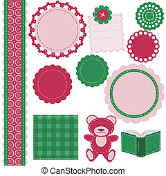 set of different scrapbook objects