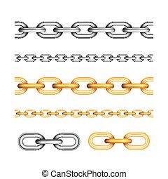 Set of different seamless chains on white