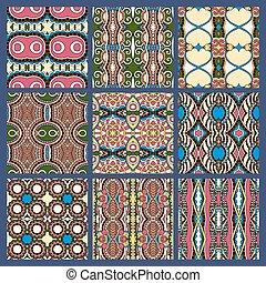 seamless dirty dark blue vintage geometric pattern - set of ...