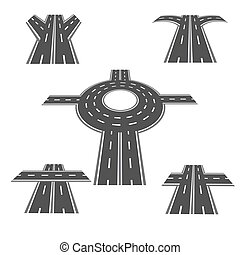 Set of different sections of the road with roundabout intersections, and a variety of different angles in the long term. illustration