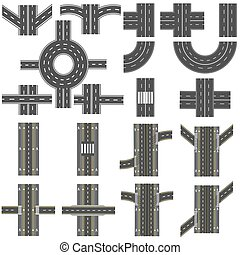 Set of different sections of the road with roundabouts, junctions, bends and various intersections. series depicts the sidewalks, marked bicycle lanes. Top view and perspective. illustration