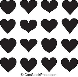 Set of different shape heart icons for design