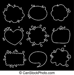 Set of different shapes of thought bubbles, round, oval, square.