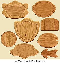 Set of different shapes wooden sign boards.