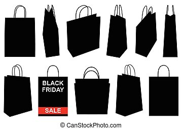 Set of different shopping bags