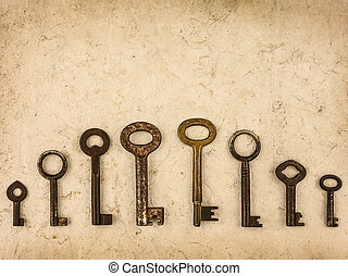 Set of different size antique keys