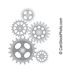 Set of Different Sized Gears Vector Illustration