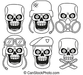 Set Of Different Skull Charactres With Different Modern Street Style City Attributes. Monochrome Style. Isolated