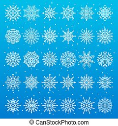 Set of Different Snowflakes on Vector Illustration