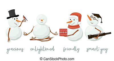 Set of different Snowmen. Precious frosty, gracious with gift, enlightened, friendly, squint, bird, yoga. Isolated.