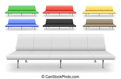 Set of different sofas benches