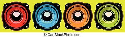 Set of different speakers. Vector color illustration. Elements for design