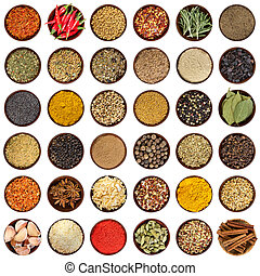 Set of different spices in wooden bowl. Top view.