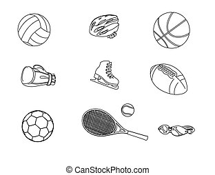 Set of different sport icons. Isolated on white background. Vector illustration