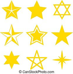 Set of different stars on a white background. Vector illustration