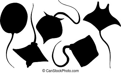 Set of different stingray silhouettes