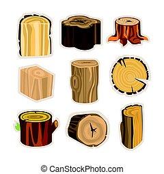 Set of different stump trees. Wooden materials vector Illustrations