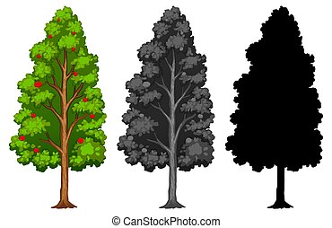 Set of different styled trees