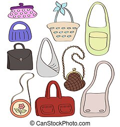 Set of different stylish bags.