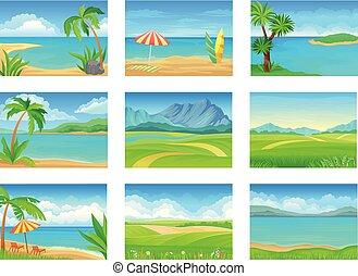 Set of different summer landscapes. Vector illustration on white background.
