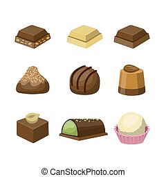 Set of different tasty delicious chocolate sweets