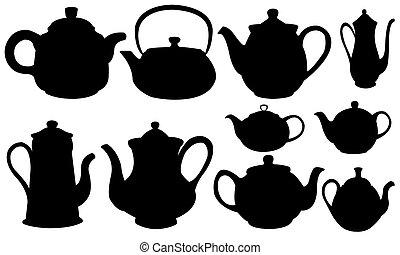 set of different tea pots