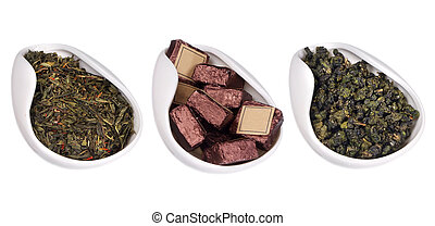 set of different teas isolated on white