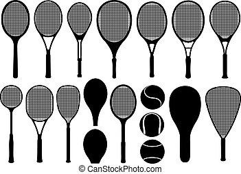 Set of different tennis rackets