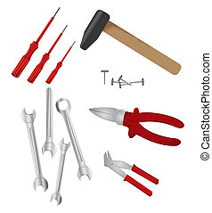 set of different tools over white background