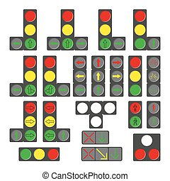 Set of different traffic lights isolated on white.