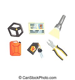 Set Of Different Truck Driver Job Related Items
