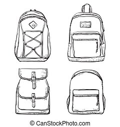 Set of different types backpacks