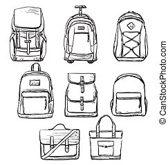 Set of different types bag for travel