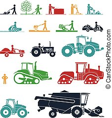 Set of different types of agricultural vehicles and gardening machines.