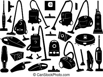 Set of different vacuum cleaners isolated on white