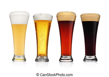 Set of different various of beers isolated on white.