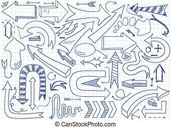 Set of different vector doodle arrows