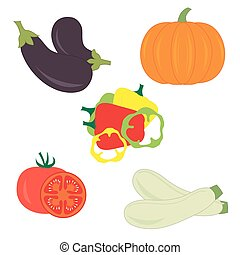 Set of different vegetables on a white background