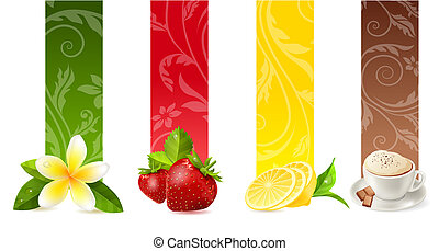 Set of different vertical food banners