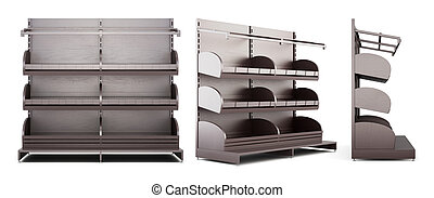 Set of different view of shelves for baking on white background.