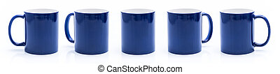 Set of different views of blue cup
